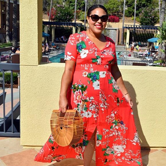 5ffcb248813b Boohoo Plus Dresses   Red Floral Maxi Dress   Poshmark